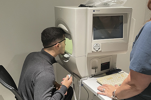 Patient doing a visual field test
